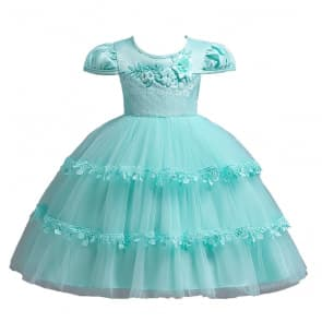 Isis Floral Patches Trible Layer Girls Wedding Princess Dress