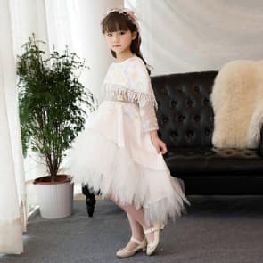 Malinda Floral Embroidery See-through with Cloak Girls Wedding Princess Dress