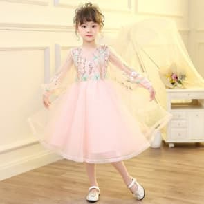 Olivia Floral Embroidery Long Sleeve Lace Girls Wedding Princess Dress