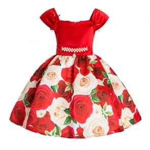 Deanne Rose Printed Cap Sleeve Girls Princess Dress