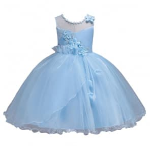 Elle 3D Floral Embroidery Girls Wedding Tutu Princess Dress