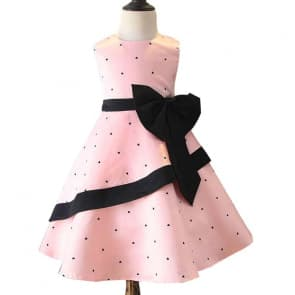 Frida Allover Heart Printed with Bow-Knot Girls Princess Dress